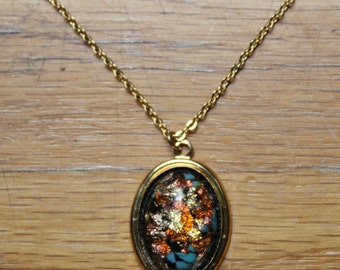 Vintage 1960s Costume Necklace & Earring Set - Dichroic Glass
