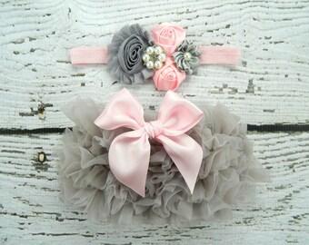 Newborn Outfit  Ruffle Bloomers and Headband Set / Chiffon Ruffle Baby Bloomer / Ruffle Diaper Cover / Newborn Photo Prop / Newborn Headband