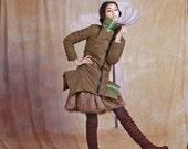 army green cotton-padded jacket / coat long coat winter jacket winter coat--6