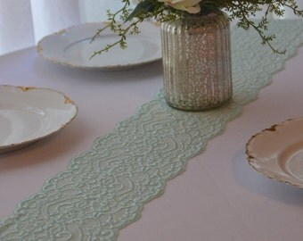 """Mint Lace Table Runner 6.25"""" Wide  Choose length 3FT to 12 FT / Cut lace not hemmed / Final inventory/ Mint green lace/ Wedding decor"""