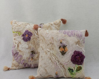 Two Felted Pillow cover   eco friendly Country Home Eco  Decor OOAK