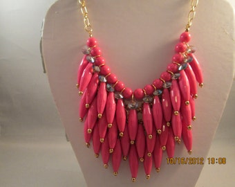 SALE 4 Row Layered Bib Necklace with Deep Pink Beads on a Gold Tone Chain