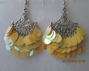 Silver Tone Layered Earrings with Yellow Disc Beads