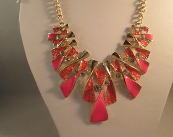 Gold and Pink Pendant Bib Necklace with Clear Rhinestones on a Gold Tone Chain