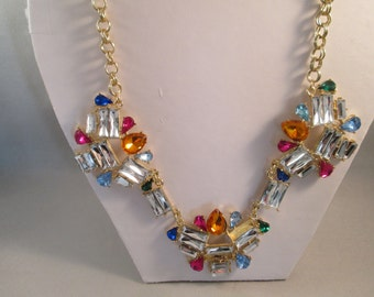 SALE Bib Necklace with Multi Color Crystal Bead Pendants on a Gold Tone Chain