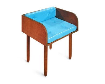 Chair JACOB. Layered birch plywood with hardwood legs. Linen sofa chair. Mid century chair.