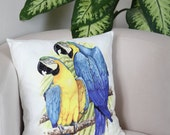 "16"" x 16""  Parrot pillow case, tropical cushion cover, animal throw pillow cover, home decor pillowcase, printed pillowcase, decorative"