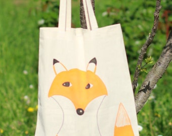 Fox Tote Bag, Watercolor Bag, Handpainted Bag, Shoulder Bag, Animal Lovers, Shopping Bag, Washable Bag, Crossbody Bag