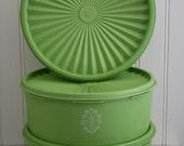 Vintage Apple Green Tupperware Trio, Vintage Kitchen, Kitchen Decor, Collectable