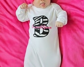 Baby Girl Clothes Gown Zebra Hot Pink Beanie Hat Headband Options Newborn Baby Girl Take Home Outfit Gift Set