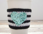 Black and White Cozy - Reusable Coffee Sleeve - Wedding Gift Idea - Coffee Sleeve - Crochet Coffee Cozy - Christmas Gift - Mint Glitter
