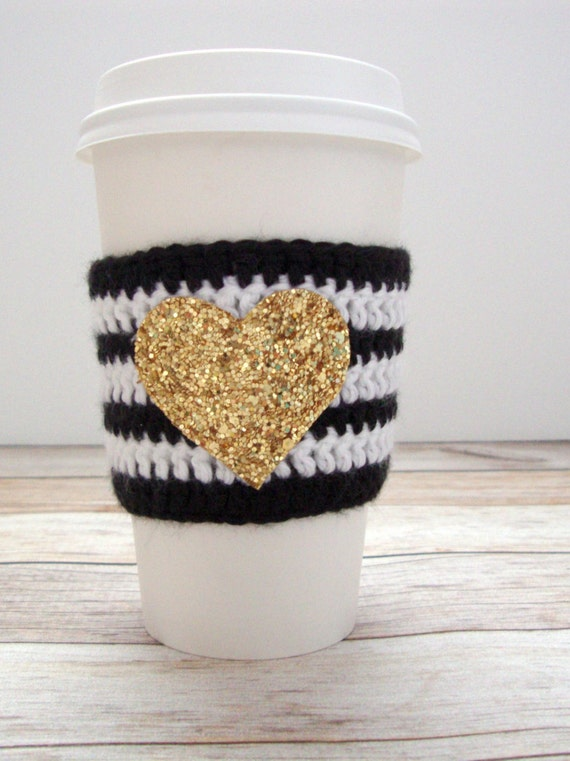 Black and White Cozy - Reusable Coffee Sleeve - Wedding Koozie - Coffee Sleeve - Crochet Coffee Cozy - Christmas Gift - Gold Glitter
