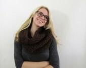 chunky hood scarf. brown scarf. crochet cowl scarf. chunky scarf. circle scarf. espresso infinity scarf. womens scarf. winter hood cowl.