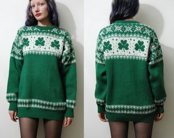 70s Vintage CLOVER Sweater Jumper Irish Green WOOL Pixel Knit Knitted Nordic Slouchy Oversized Saint Patricks 1970s vtg M
