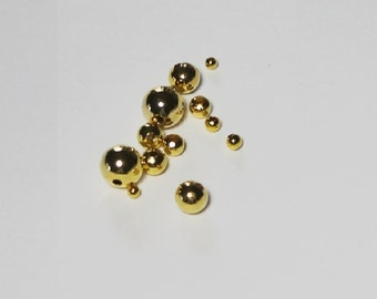 Gold Plated Seamless Round Beads Sizes 2.4 To 8.00 MM  Choose Size And quantity