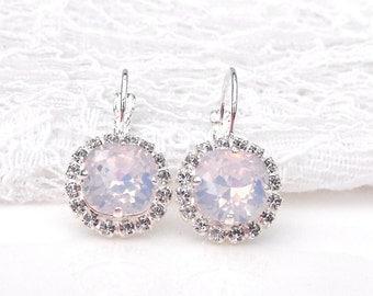 Blush Pink Wedding Earrings Pink Opal Blush Pink Bridesmaids Pink Blush Light Rose Pink Opal Swarovski Crystal Silver Drop Bridal Earrings