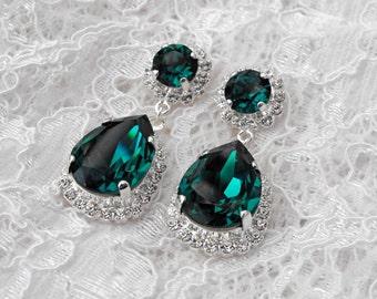 Emerald Earrings Emerald Green Teardrop Winter Wedding Emerald Bridesmaids Emerald Swarovski Crystal Silver Chandelier Bridal Earrings