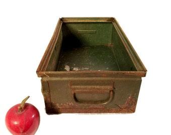 Vintage Industrial Metal Factory Bin - Storage - Steel Box - Industrial Decor - Green - Rustic