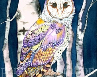 Barn Owl No.2, Archival Print of original watercolor painting, you choose size