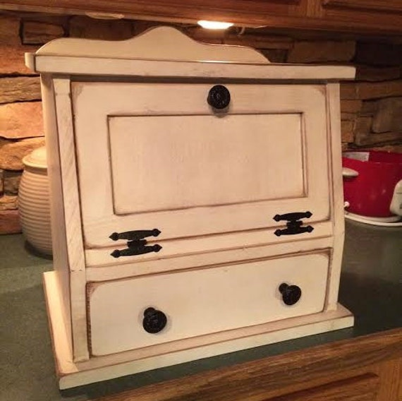 Kitchen Bread Drawer: Bread Box With Drawer FREE SHIPPING Shabby Chic Wood