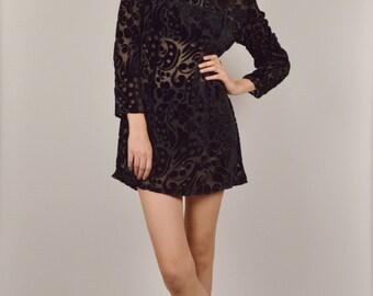 Sheer Black Velvet Floral Mini Dress