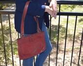 Etienne Aigner Purse, Oxblood Red Purse,  Vintage Handbag, Women's Shoulder Bag, Red Pocketbook, Brown Purse, SALE!