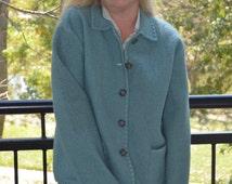 Women's Jacket, Size Large, Petite, Wool Blazer, Ladies' Jacket, Periwinkle Blue Blazer, Talbots Petites Blazer, Women's Wool Coat