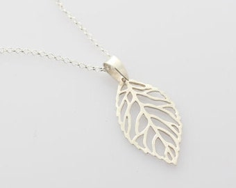 Genuine 925 Sterling silver Leaf Necklace. Silver filigree Leave. Sterling Silver leave Necklace. Leave Jewelry.