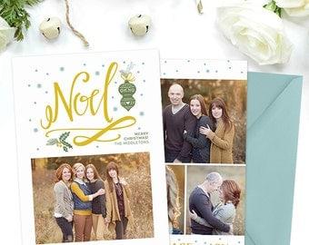 Christmas Card Template for Photographers, Christmas Card Template for Photoshop, Holiday Card Templates, Winter Photography Templates HC286