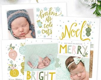 Christmas Card Templates for Photographers, Christmas Card Templates for Photoshop, Holiday Card Templates, Photography Templates HC8487