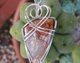 Crazy Lace Agate Stone Pendant, Sterling Silver Wire Wrapped, Crazy Lace Pendant, Handmade Stone Jewelry, Necklace