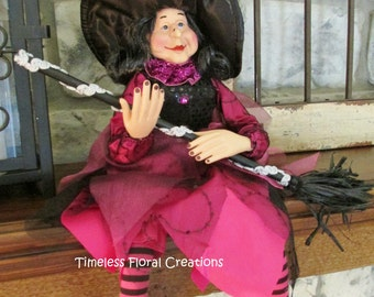 Purple Witch~Halloween Decoration~for holiday decor~use in Wreath