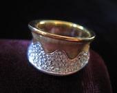 18k Diamond Ring White Gold Yellow Heavy Statement Wavy Modern Ring Eighteen Karat Diamonds Size 8 1/2