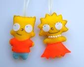 cute little Lisa and Bart Simpson felt plush ornament