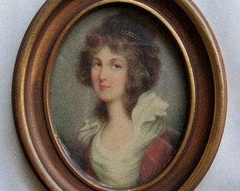 Vintage, small framed portrait - 18th century lady - reproduction - brown eyes - Bamberger's - 1950s or earlier