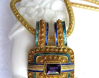 Oriental Enamel Slide Pendant, Amethyst Glass, Gold Vermiel Sterling, Goldwashed Woven Mesh, Chinese Asian Necklace, Blue Green Enamel Bands