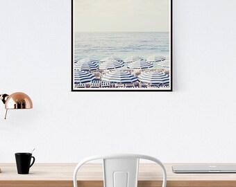 Beach Wall Art, Aerial Beach Print, Beach Umbrella Art, Ocean wall decor, Large Art print, Beach Photography, Wedding gift
