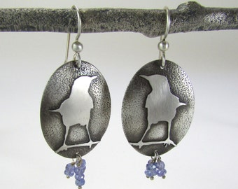 Bird earrings Sterling Silver with Tanzanite stones - Silver Bird Earrings - Tanzanite earrings - in stock and ready to ship!