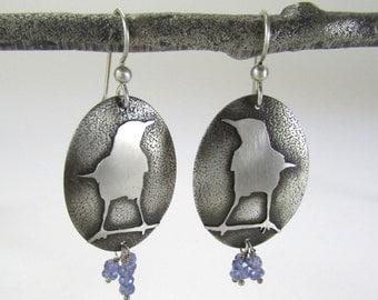 Sterling silver bird earrings with Tanzanite stones - mockingbird earrings sterling silver - Tanzanite earrings