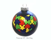 Autism Heart Ornament Puzzle Pieces Hand Painted Glass Made to Order