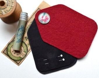 Sewing Needle Case - Needle Holder - Marsala Felt - Handmade