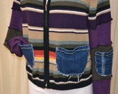 Hag Rags.....Front zip upcycled sweater jacket.....androgynous.....bold stripes...