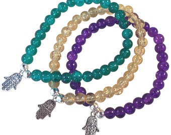 HAMSA Charm BRACELET 10 Colours 6mm Crackle Glass Beads and Silver Tone Beads Fatima's Hand