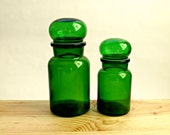 Vintage Pair of Green Glass Apothecary Bottles Jars with Bubble Lids