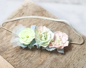 Daydream Believer - dainty headband in dusty blue, pale pink, butter cream, light melon green and yellow (RTS) optional tieback