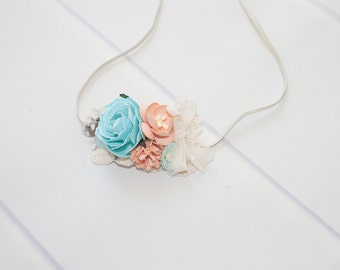 Linen Grace - dainty headband in cream, peach and pale blue  (RTS