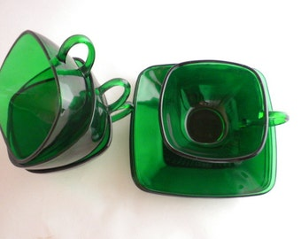 Charm Pattern, Forest Green Tea/ Coffee cups and saucers, Set of Four Anchor Hocking