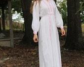 Vintage White Linen Maxi Dress