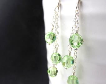 Peridot Swarovski crystal earrings, sterling silver