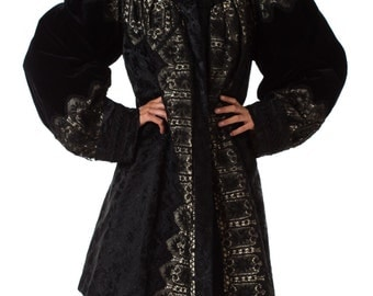 1890s Belle Epoch Silk Damask Velvet and Lace Jacket Size: S/M